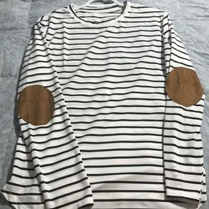 Striped long sleeve shirt with elbow pads